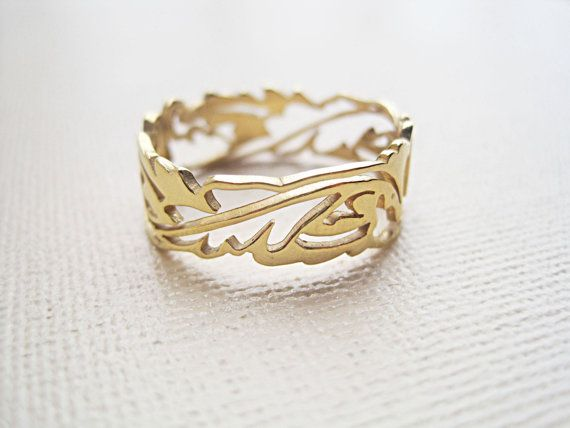 Gold vector leaf ring Band ring Vintage ring by yuliaguberman, ₪200.00