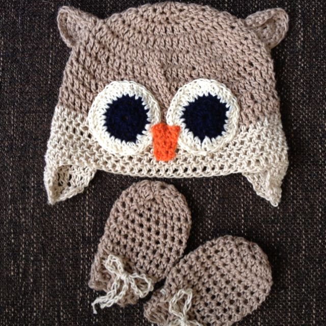 Crochet newborn owl hat with matching mittens | Crochet Owls | Pinterest