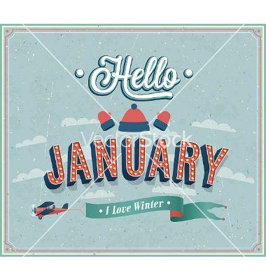Hello january typographic design vector - by MiloArt on VectorStock®