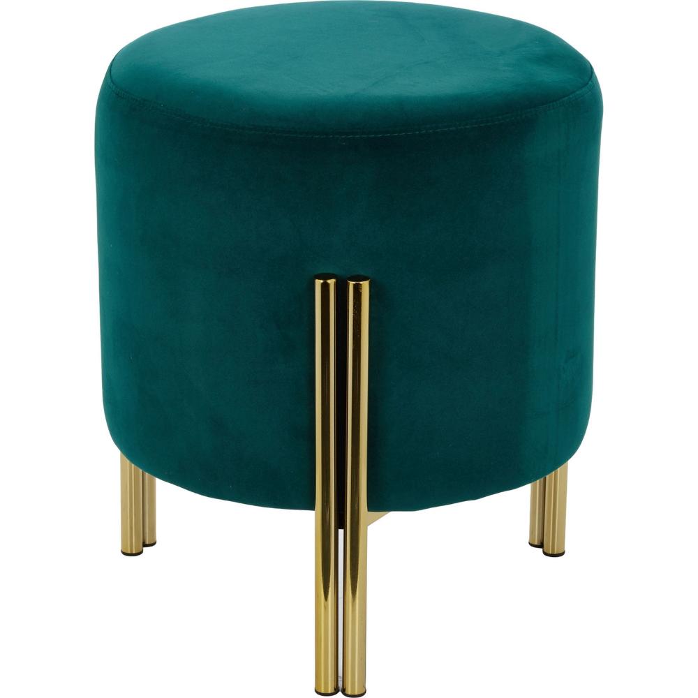 Teal Velvet Gold Tone Footstool Footstools Ottomans
