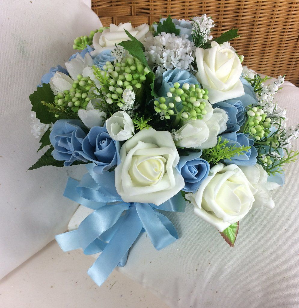 Wedding bouquet a bride bridesmaid posy of ivory white blue wedding bouquet a bride bridesmaid posy of ivory white blue flowers izmirmasajfo