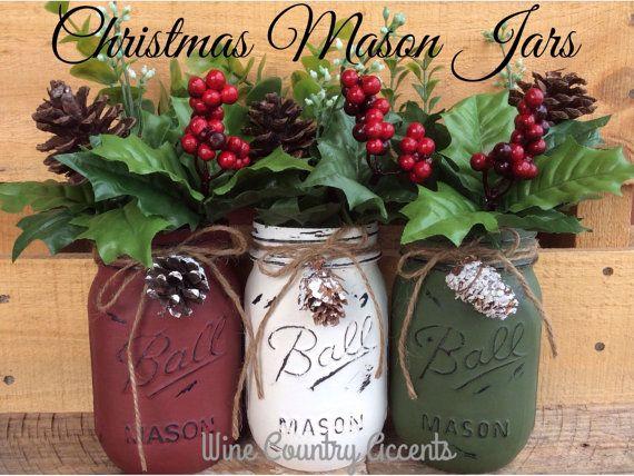 Painted mason jars christmas decor vase by winecountryaccents painted mason jars christmas decor vase by winecountryaccents solutioingenieria Images