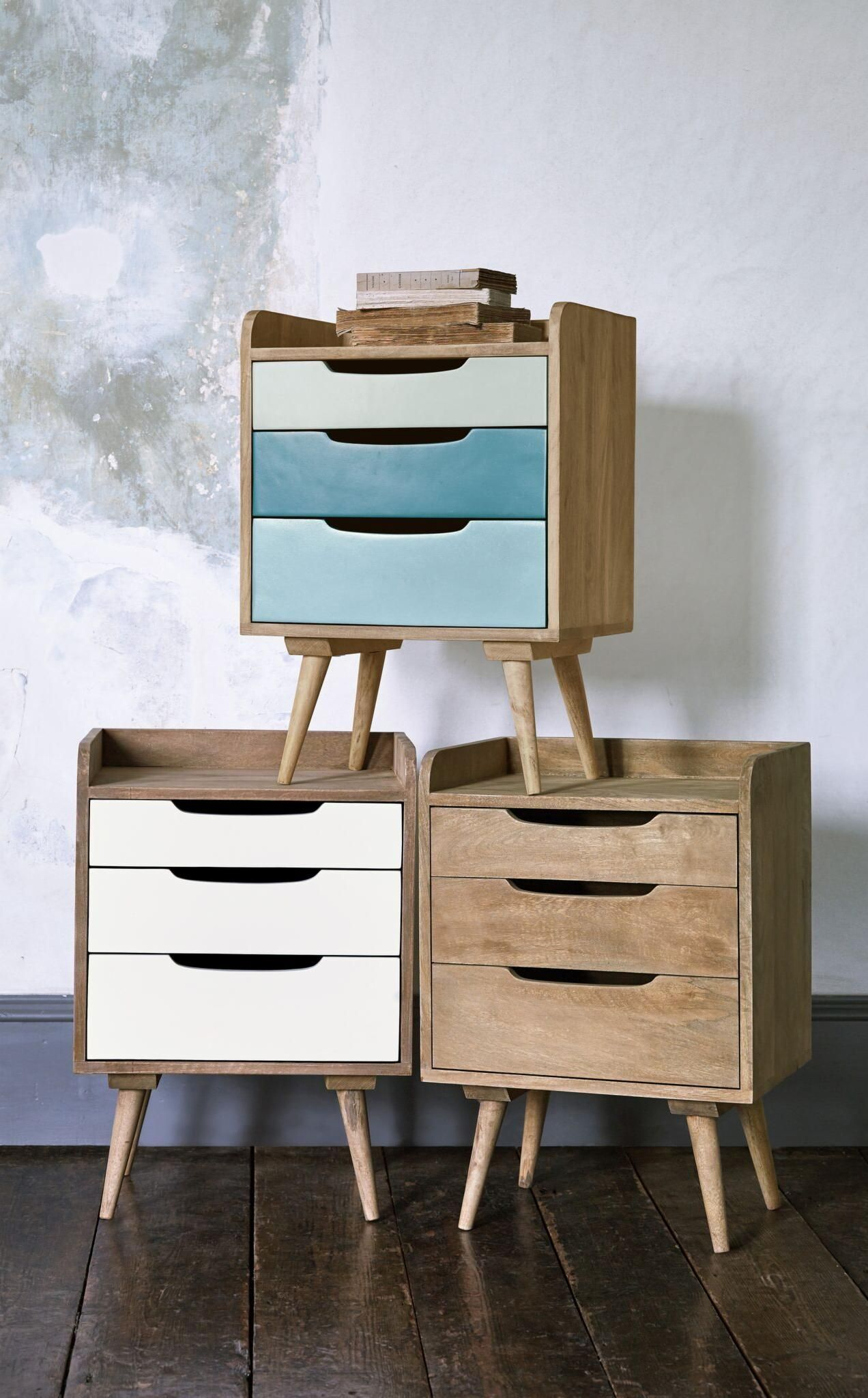 Best Randall Blue Bedside Tables Modern Bedside Table Wood 400 x 300