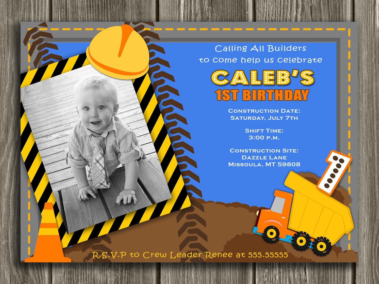 Construction Birthday Invitation - FREE thank you card included. $15.00, via Etsy.