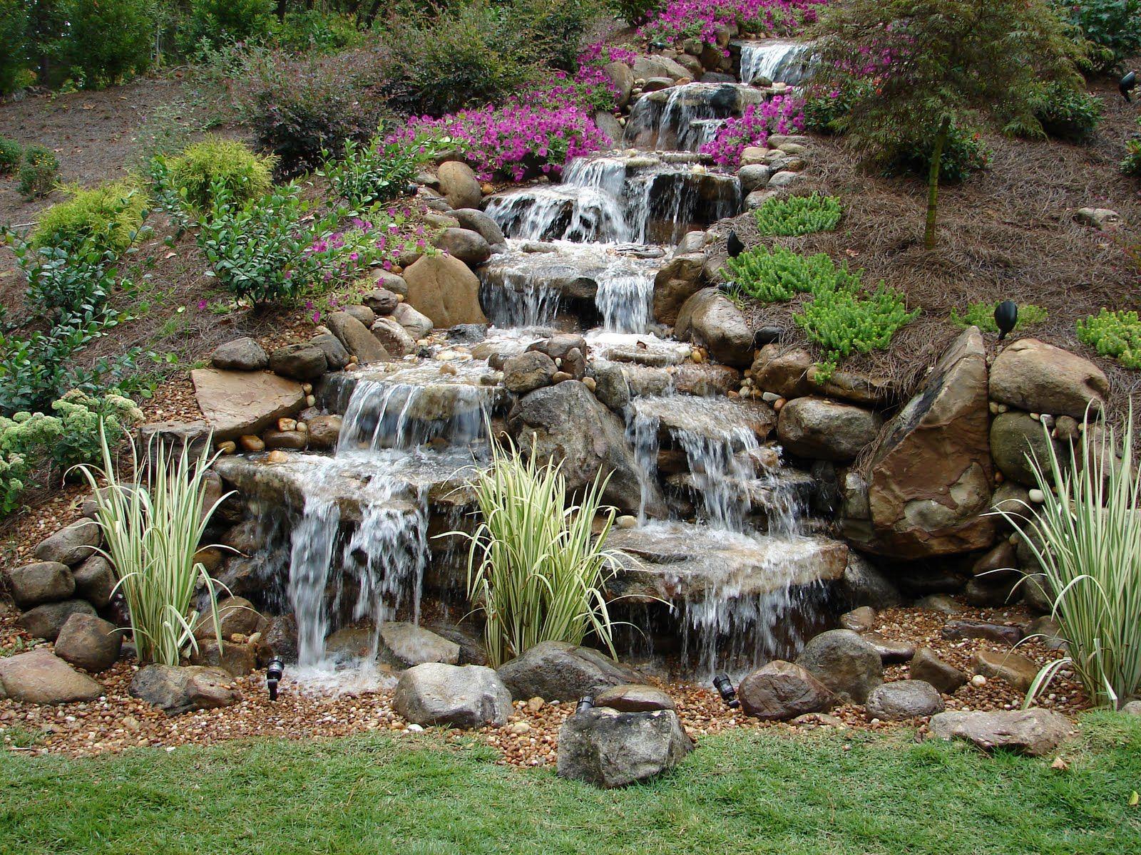 Pictures backyard waterfalls waterfalls without ponds for Backyard ponds with waterfall