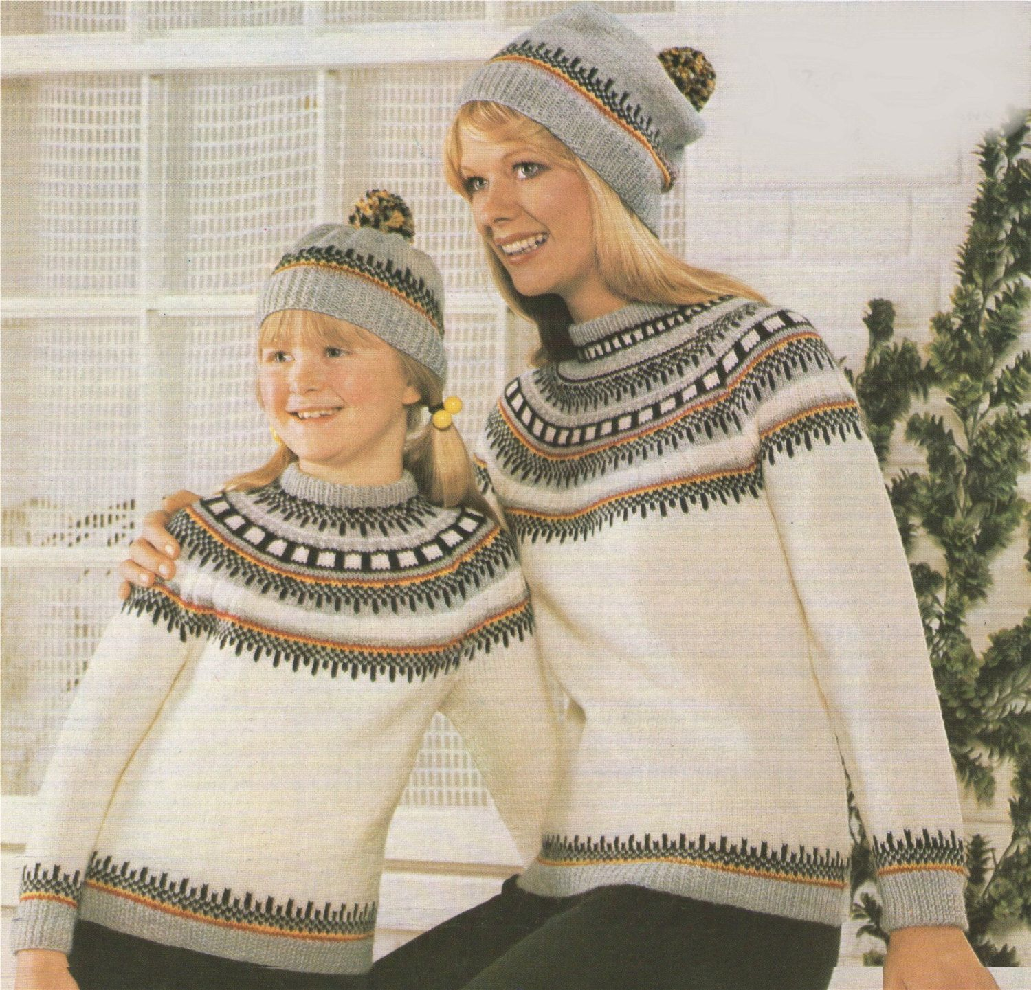 8d66846114498 PDF Ladies and Child s Fair Isle Yoke Sweater   Hat Knitting Pattern    Child 26 - 28 inch chest . Womens 34 - 36 inch bust .