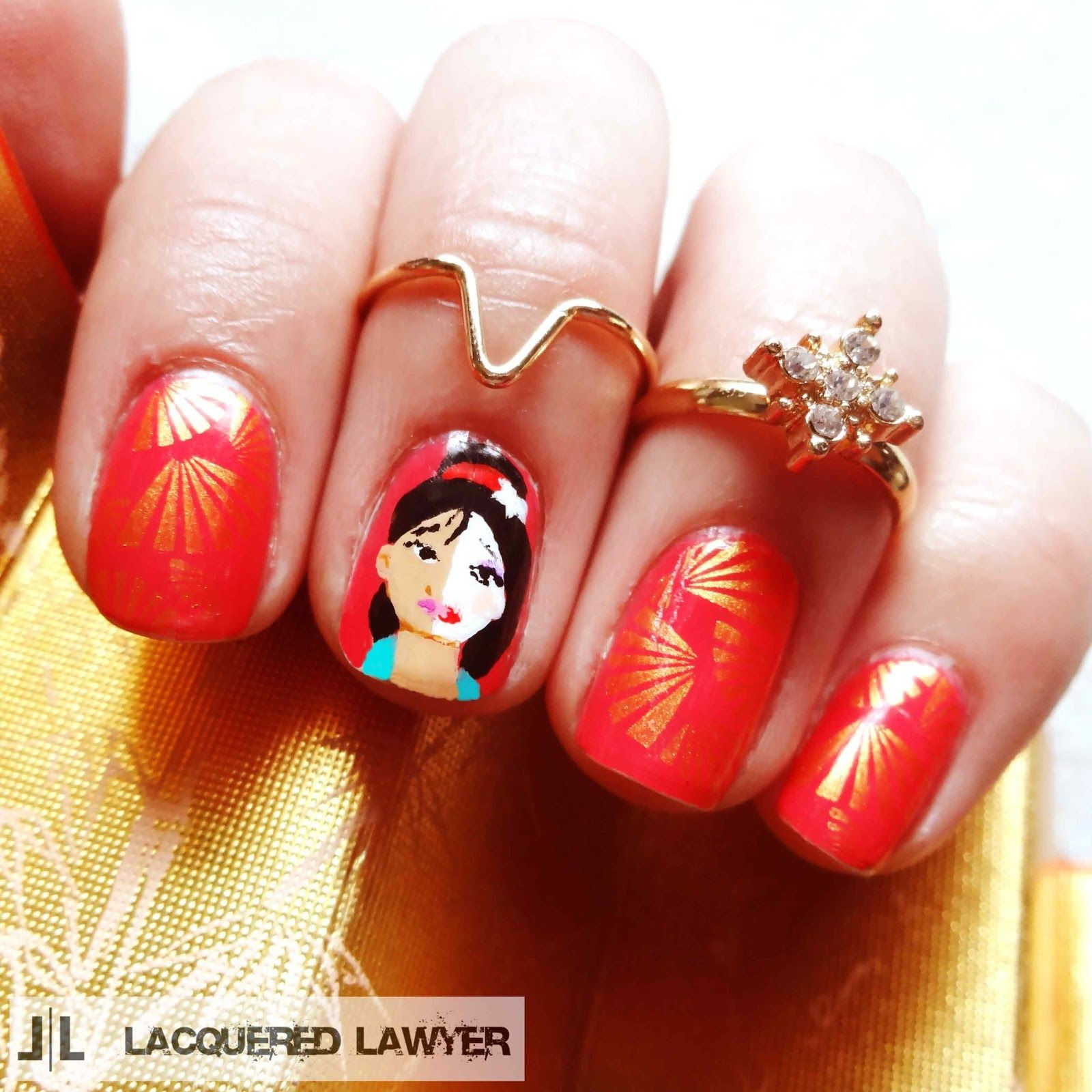 Mulan Inspired Nails: Halloween Nail Designs