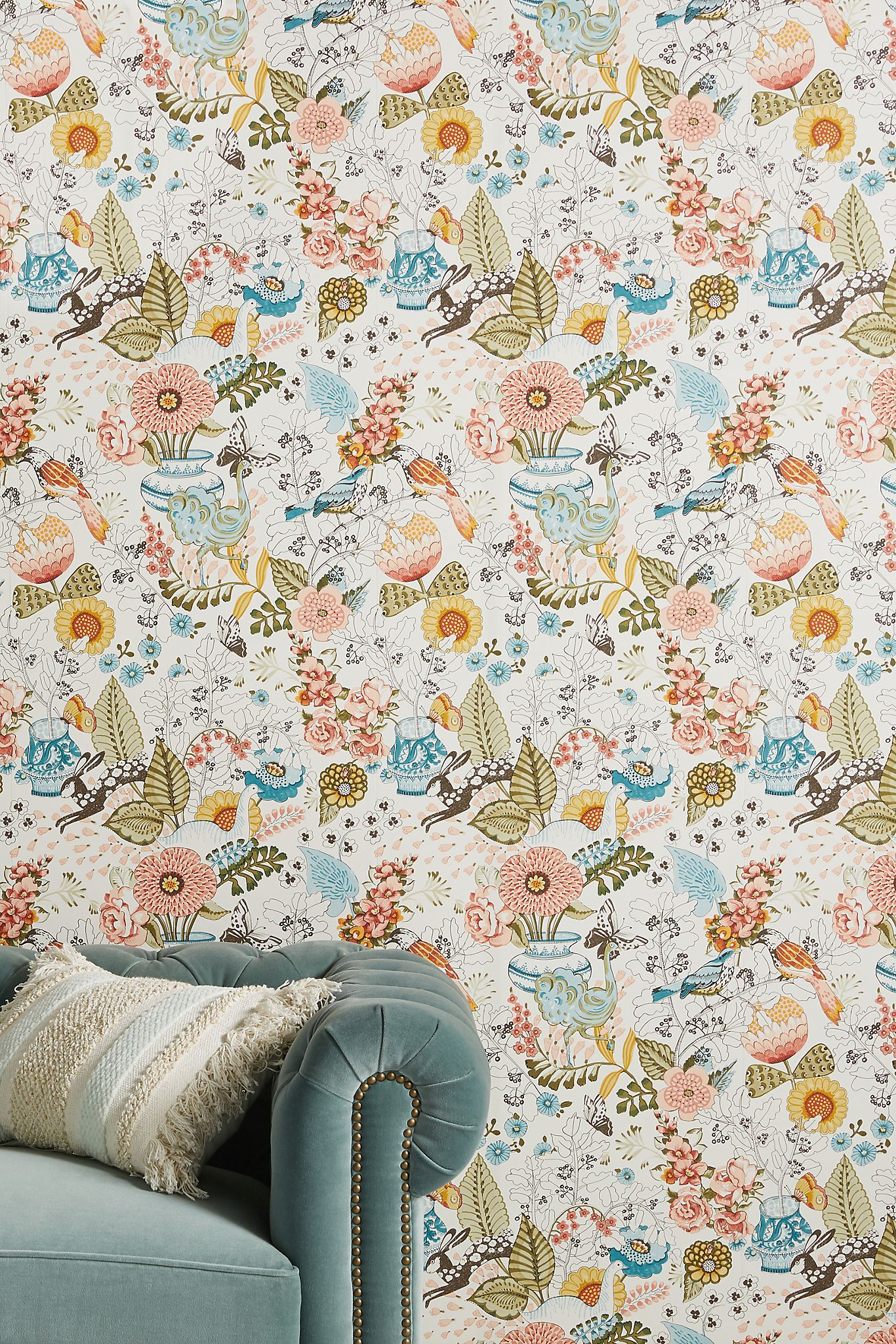 Whimsy Fauna Wallpaper Anthropologie In 2020 Unique Wallpaper Whimsy Wallpaper