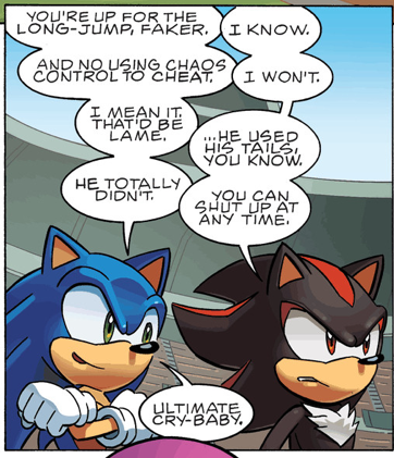 One Of The Most Hilarious Comics Ever Lol Sonic And Shadow Are Seriously The Best Rivals Lol Their Like Brothers Xd Sonic Sonic And Shadow Shadow The Hedgehog