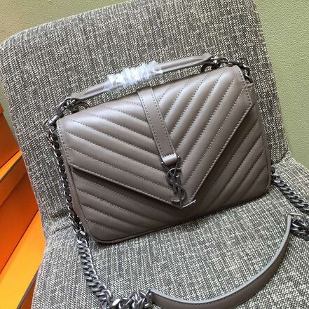 03a0a4ca3 2015 New Saint Laurent Bag Cheap Sale-Saint Laurent Classic Medium COLLEGE  MONOGRAM Saint Laurent Bag in Grey MATELASSE Leather