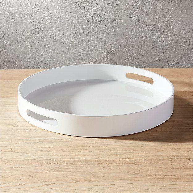 Hi Gloss Round White Tray, Coffee Table Tray Round White