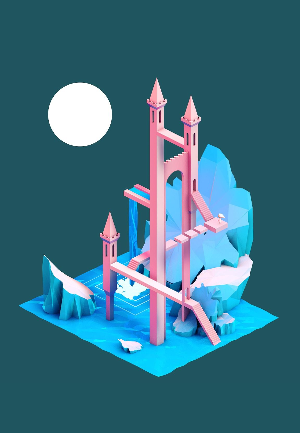 Monument Friends Photo Isometric Art Monument Valley Game