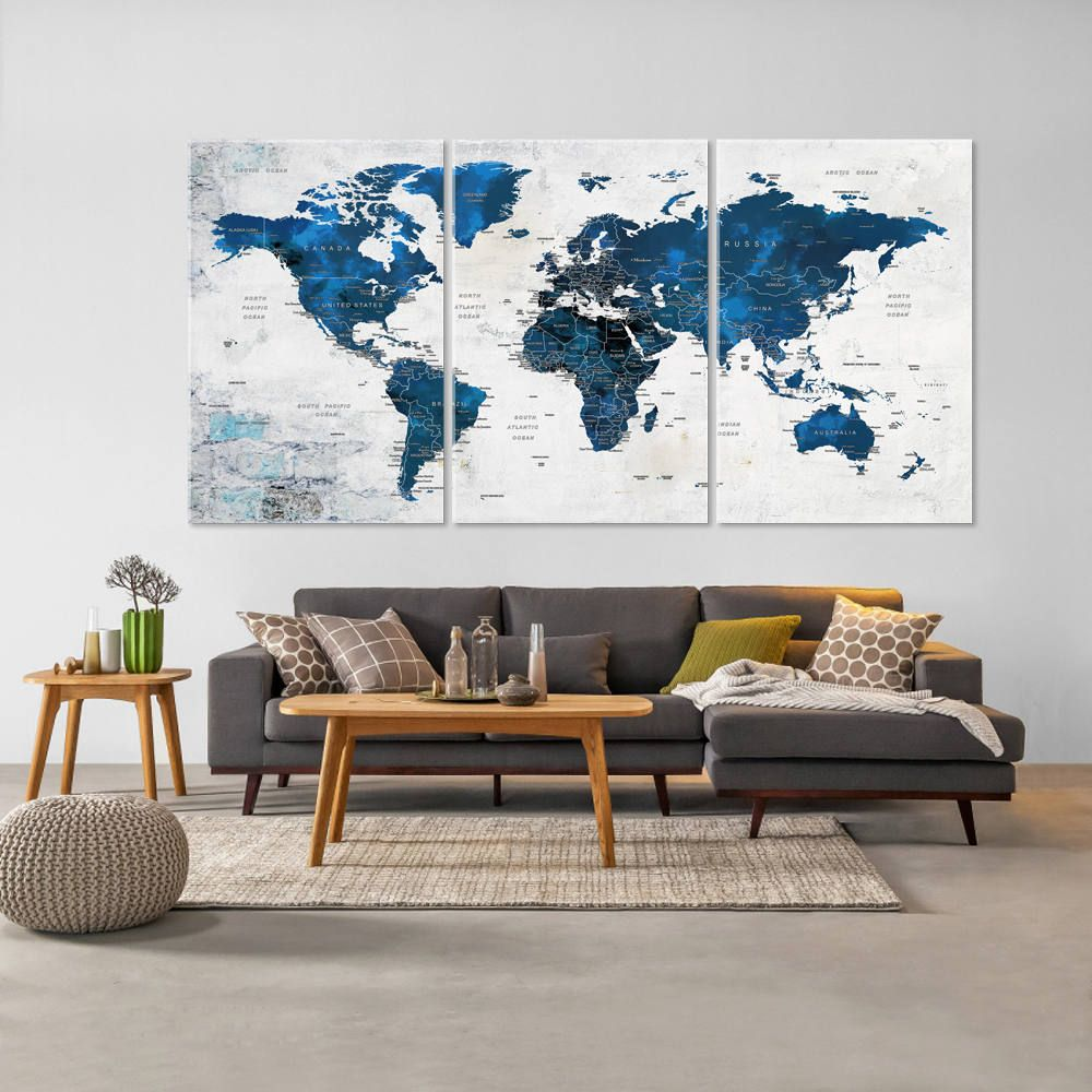 World Map Decorations World Map Canvas Push Pin Travel Map Living Room Decor Home