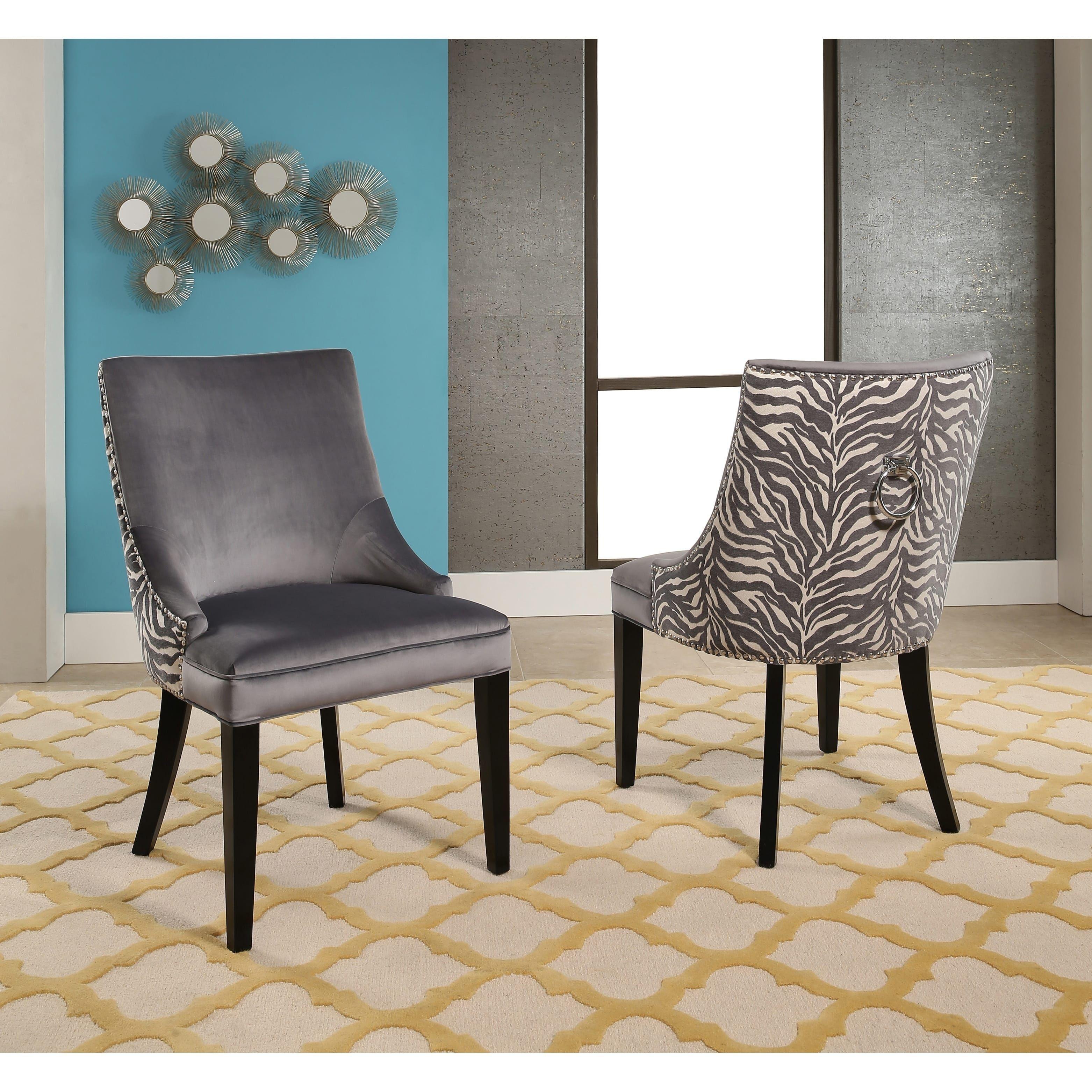 Abbyson Esther Grey Velvet Zebra Dining Chair Set Of 2 Birch