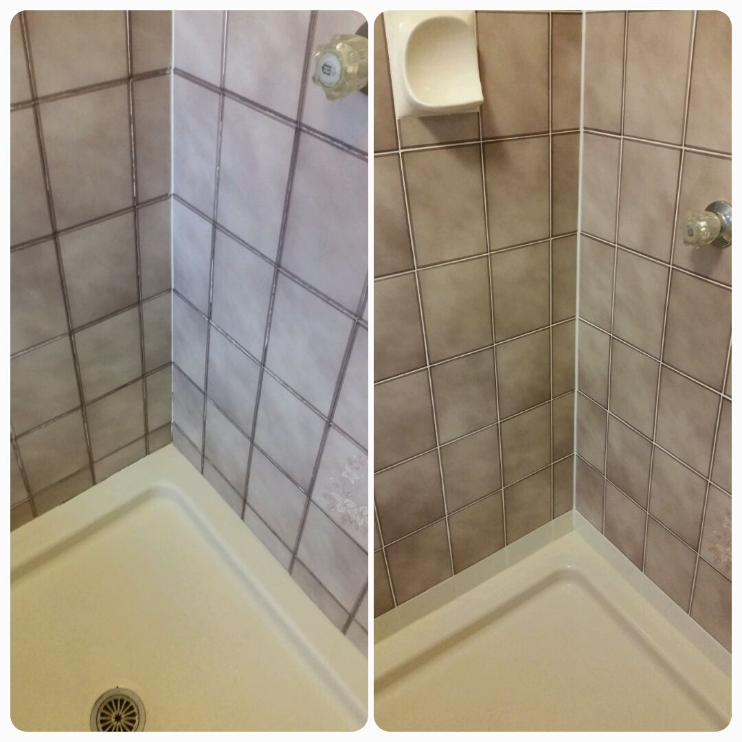 Grout cleaner cleaning bathtub