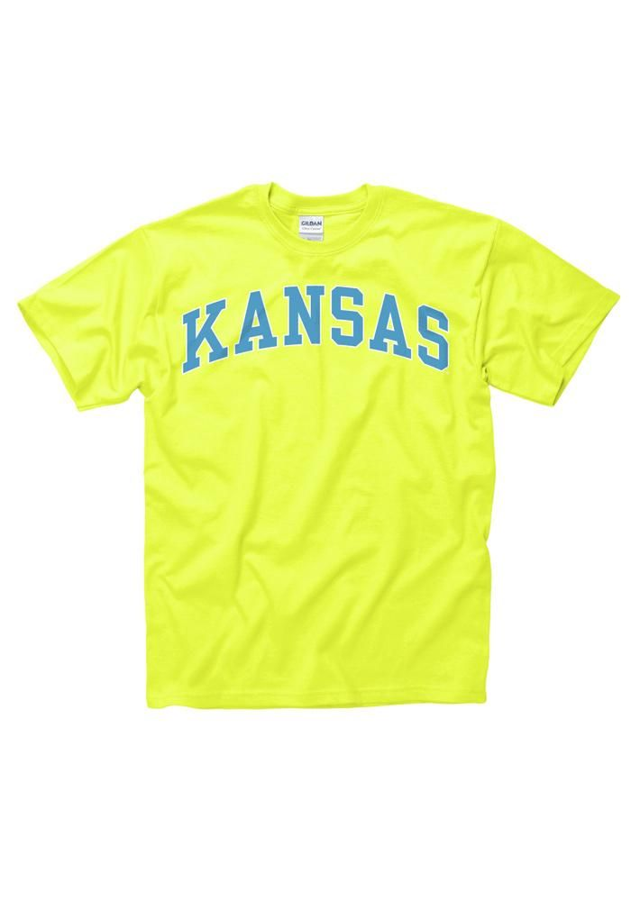 Kansas ku jayhawks women 39 s yellow blue neon tee http for Funny kansas jayhawks t shirts