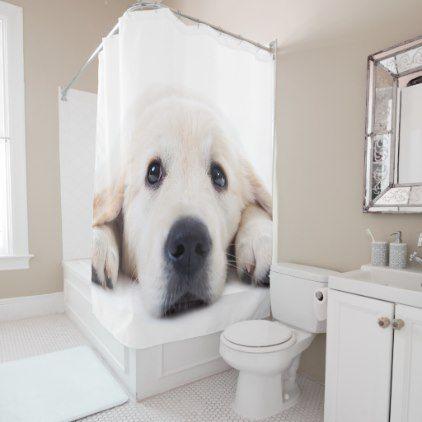 Golden Retriever Cute Puppy Lying Down Shower Curtain Zazzle Com