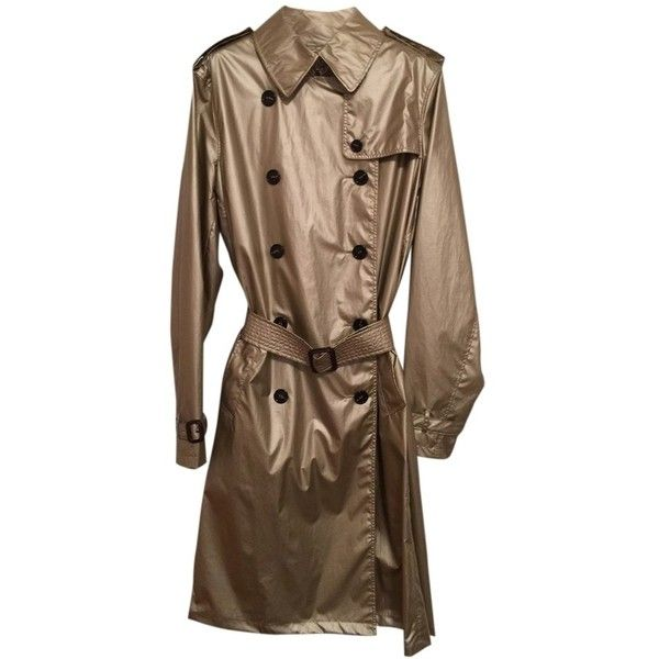 Pre-owned Burberry London Trench Coat (£310) ❤ liked on Polyvore featuring outerwear, coats, metallic gold, brown coat, double breasted trench coat, burberry coat, trench coat and double-breasted coat