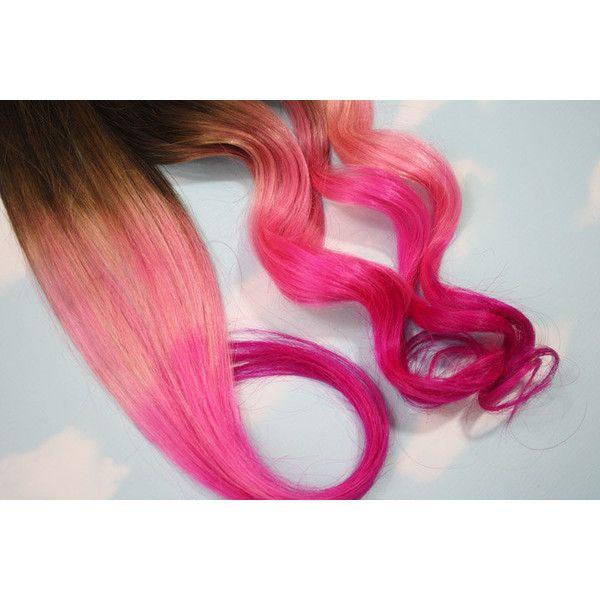 Burning Man Pink Dip Dyed Hair Extensions For Brunette Hair 20 22