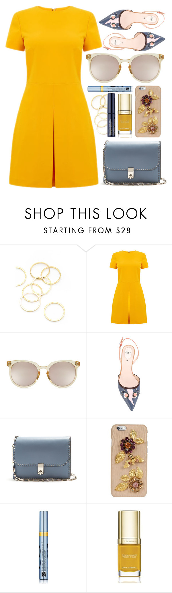 """Sunshine"" by smartbuyglasses-uk ❤ liked on Polyvore featuring A.V. Max, Warehouse, Quay, Fendi, Valentino, Dolce&Gabbana, Estée Lauder, yellow and Blue"