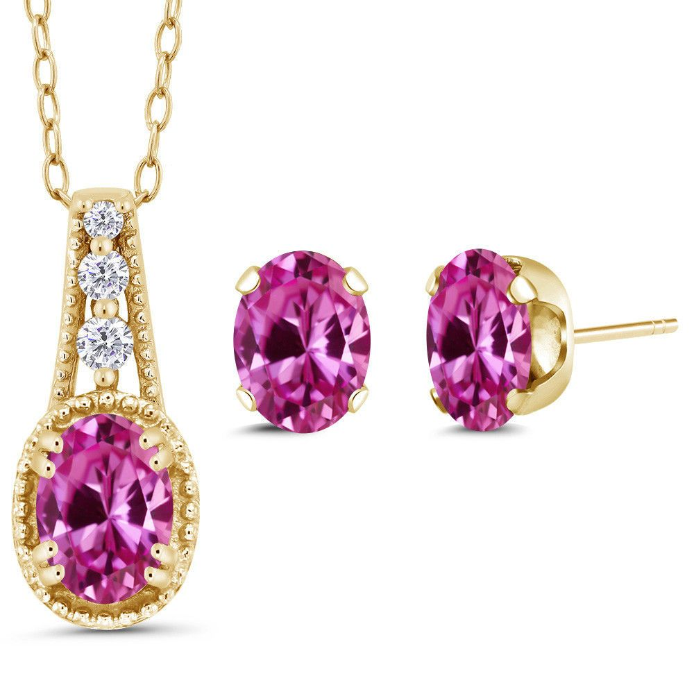 ct oval pink created sapphire k yellow gold pendant earrings
