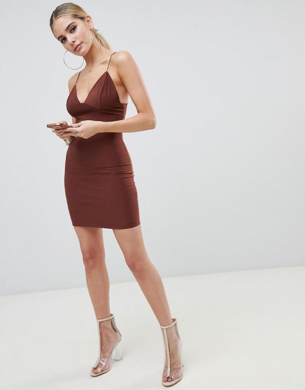 11a153 Xda Brazowa Sukienka Na Ramiaczkach S 8860686200 Oficjalne Archiwum Allegro Mini Cami Dress Dresses Cami Dress