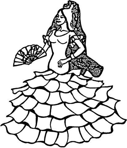 Dançarina espanhola Página para colorir | Espanha para colorir ...