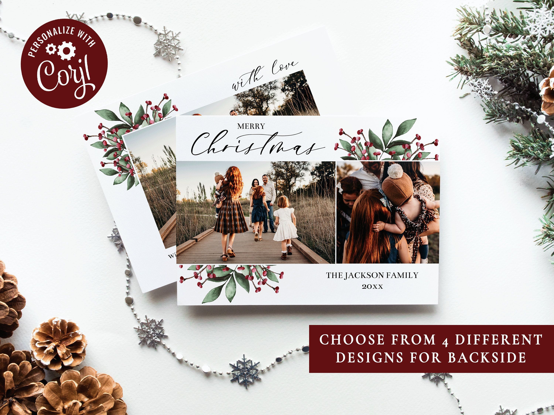Christmas Card Template Christmas Cards Template 5x7 Photo Etsy Holiday Card Template Christmas Card Template Custom Holiday Card