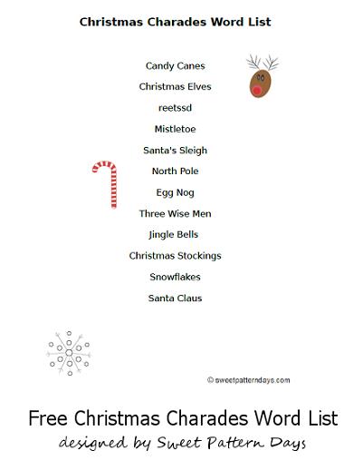 printable christmas charades word list christmas pinterest