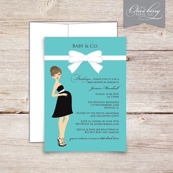 Baby & Co. Shower Invitations, Breakfast at Tiffany's inspired