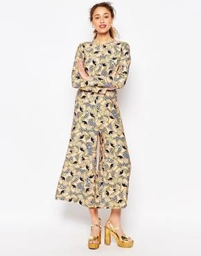 ASOS AFRICA x Chichia Awkward Length Jumpsuit in Geo Floral Print