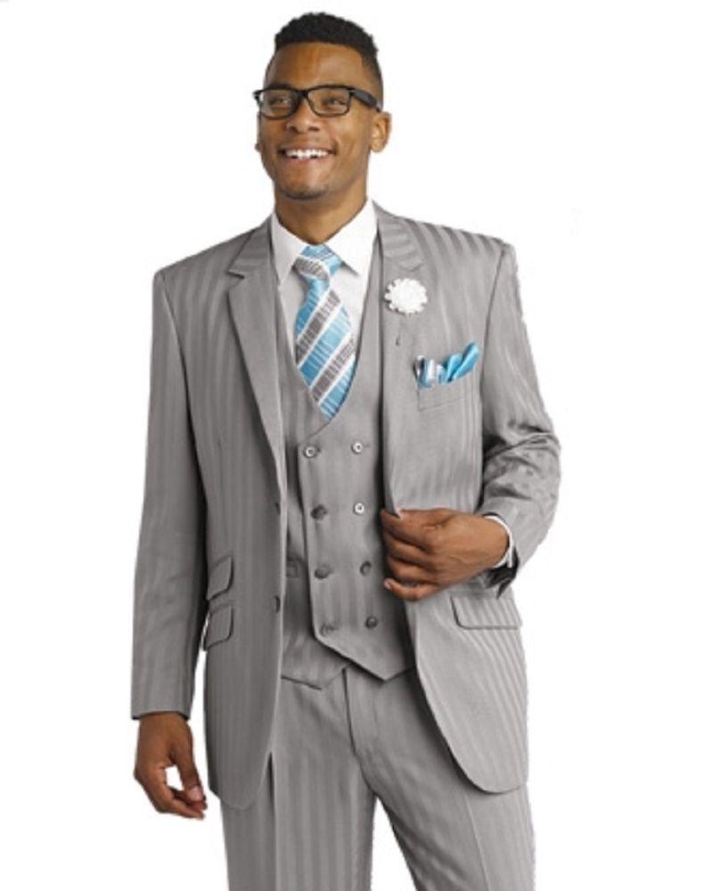 Mens Formal 3 Piece Shadow Pinstripe Grey Suit M2687 Wedding ...