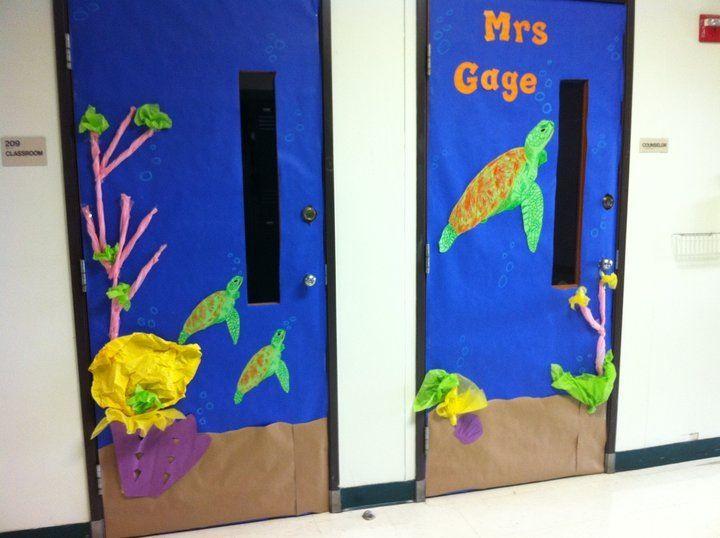 Classroom Ideas For Under The Sea ~ Sea turtle double door classroom theme decor