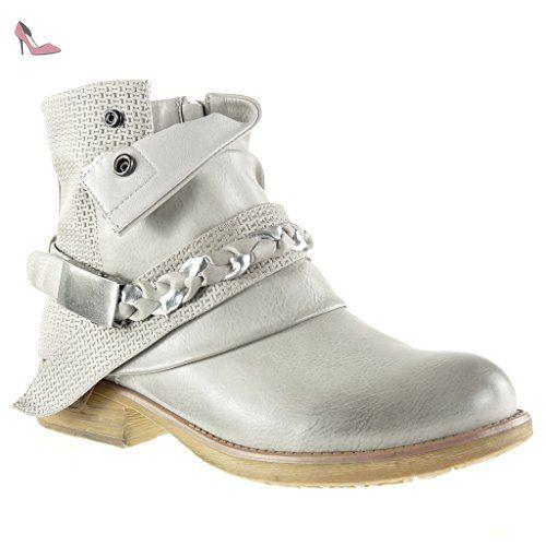 Angkorly - Chaussure Mode Bottine chelsea boots cavalier santiags - cowboy femme lanière tréssé boucle Talon bloc 5 CM - Gris - P5QpxJ