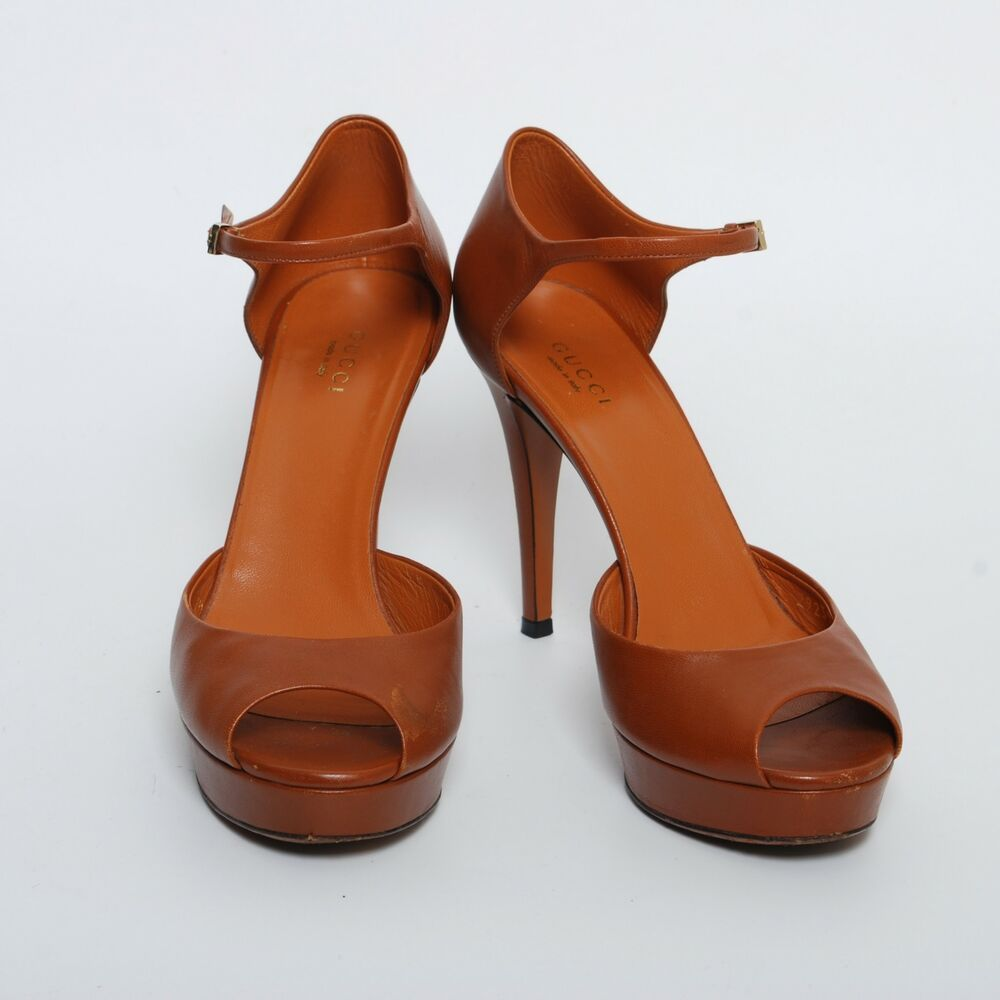 5c5f015e038 eBay Advertisement) GUCCI High Heels T-Strap Shoes Brown Stilettos ...