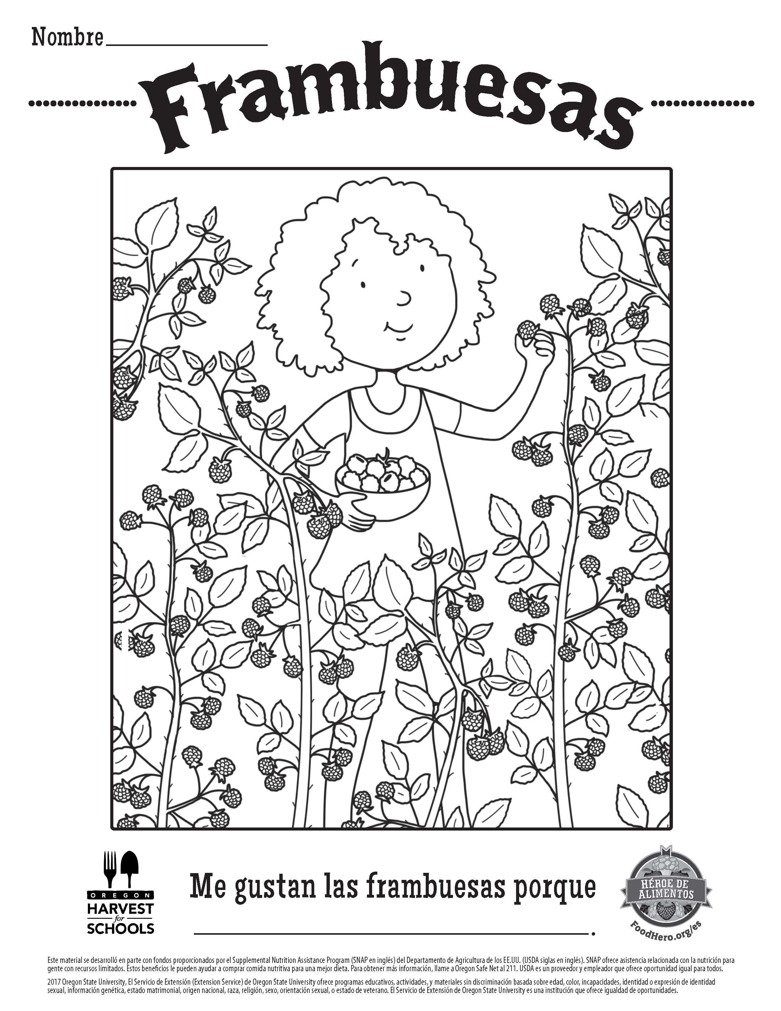 Children\'s Coloring Sheet Free Printable Food Hero Raspberries in ...