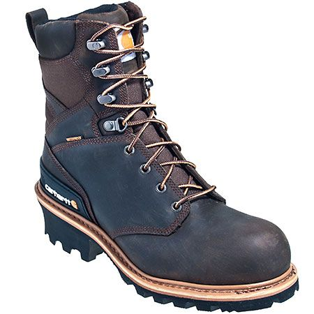Carhartt Boots: Men's Crazy Horse Brown CML8160 Waterproof EH Logger Boots,  #Boots,