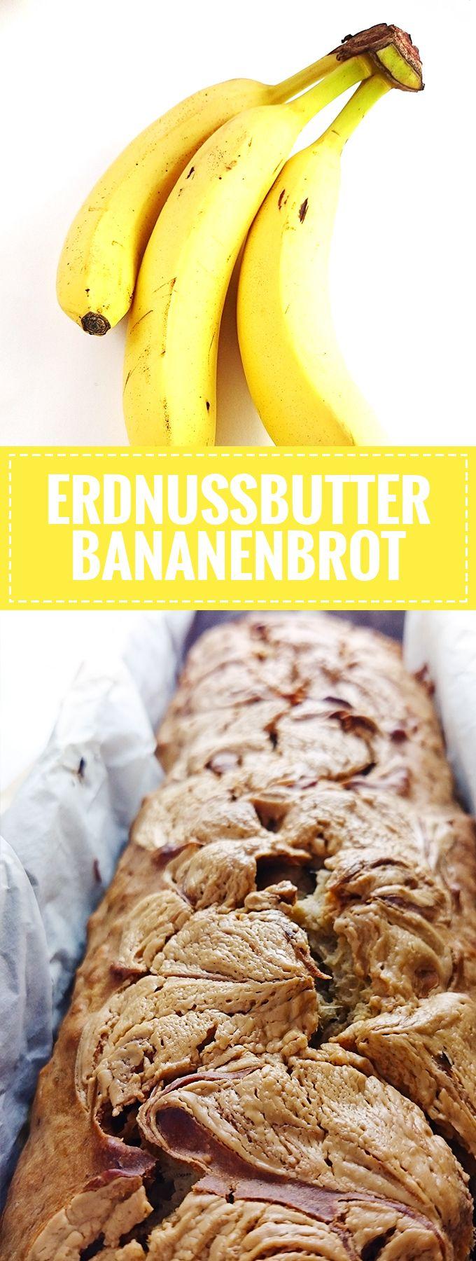 Super einfaches und saftiges Erdnussbutter-Bananenbrot // Knabberkult.de #peanutbuttersquares