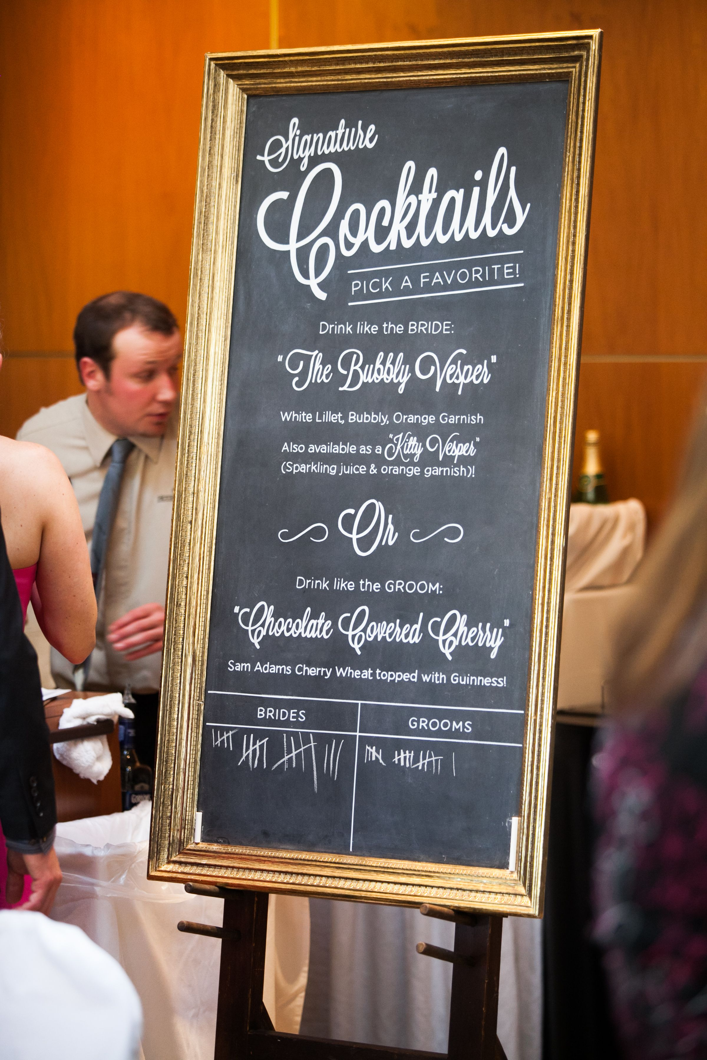 Signature cocktails chalkboard guests can vote for the