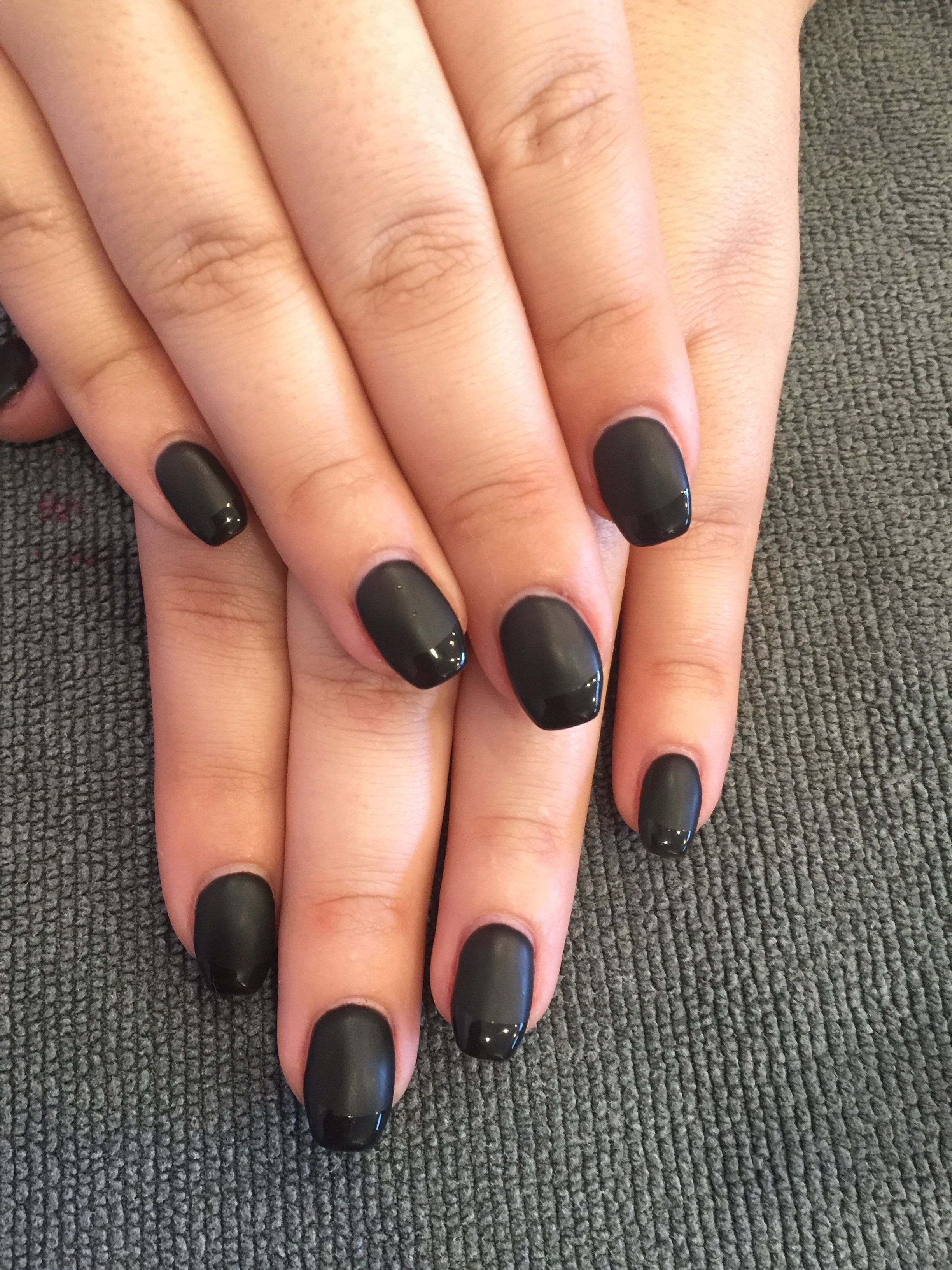 Sculpted gel nails with matte black gel polish and shiny black ...
