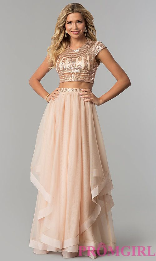Long Two-Piece Sequin-Top Prom Dress with Tiered Skirt | Bridesmaids ...