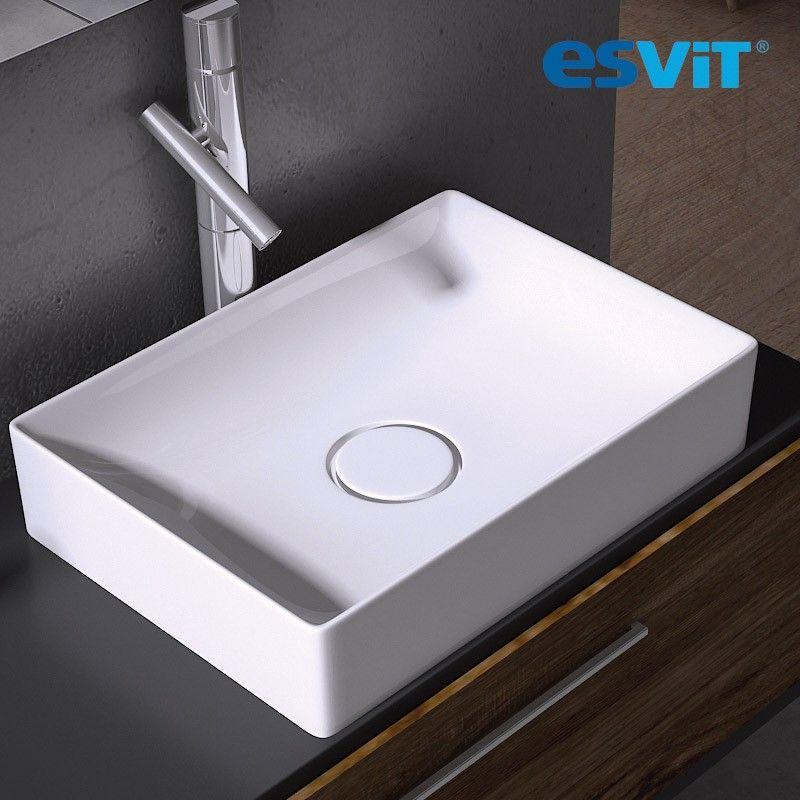 Vasque à poser rectangulaire 50 cm en céramique blanche - Floppy ...
