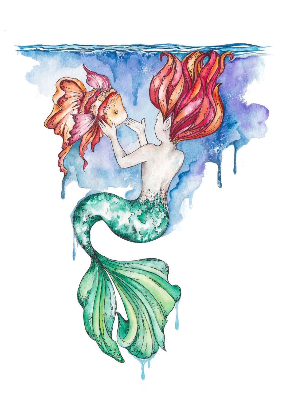 Mermaid Watercolour Print Nursery Decor Watercolor Mermaid