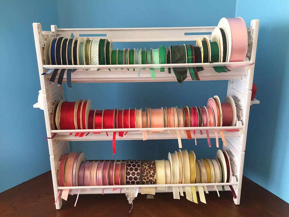 New Ribbon Holder Storage Rack Organizer No Dowels White Plastic