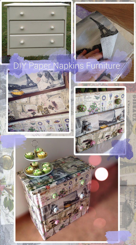 DIY decoupage: upcycle old wooden furniture using paper napkins and Mod Podge  Serviettentechnik Kommode #papernapkins