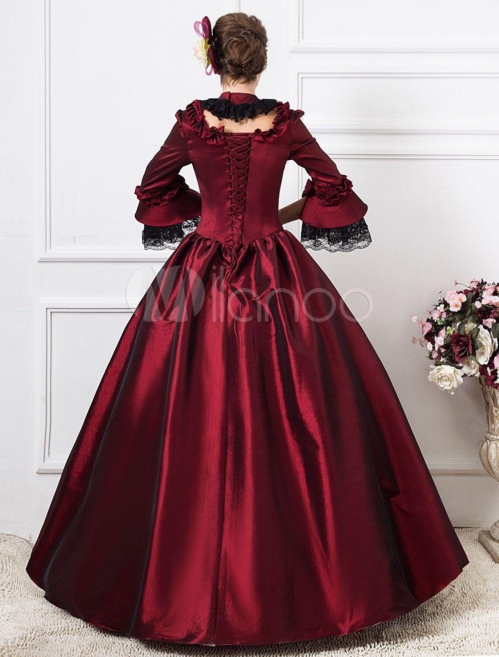 Victorian Dress Costume Women S Dark Red Victorian Era Clothing Half Sleeves Ball Gown Retro Costumes Dress Halloween Ball Gowns Victorian Dress Costume Victorian Prom Dress [ 1316 x 1000 Pixel ]
