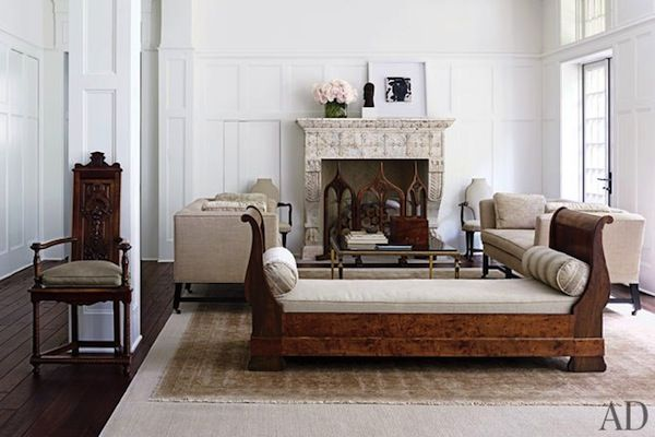 furniture position centered on fireplace, large rug under