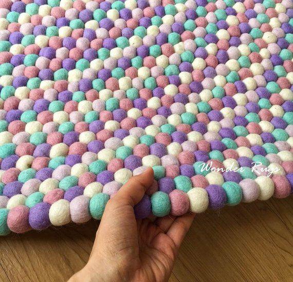 Marshmallow Woolen Rug Felt Ball Kid Rug Pom Pom Baby