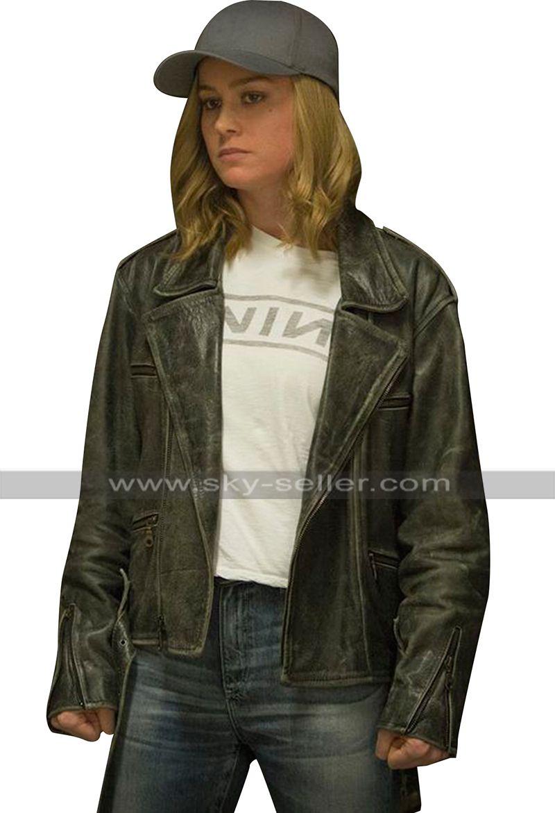 Brie Larson Captain Marvel Carol Danvers Black Biker Leather Jacket Marvel Jacket Grunge Outfits Leather Jacket [ 1171 x 800 Pixel ]