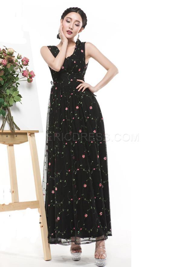 Ericdress Ladylike Printed Maxi Dress 3